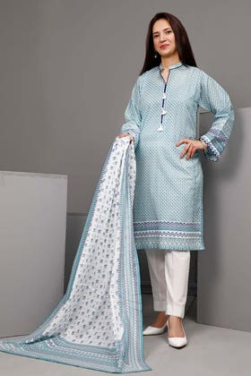 3PC Unstitched Printed Suit With Printed Lawn Dupatta CL-1096 B
