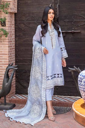 3 PC Unstitched Embroidered Lawn Suit with Cotton Net Dupatta FE-12252
