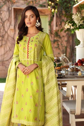 3 PC Unstitched Embroidered Lawn Suit with Jacquard Dupatta FE-12236