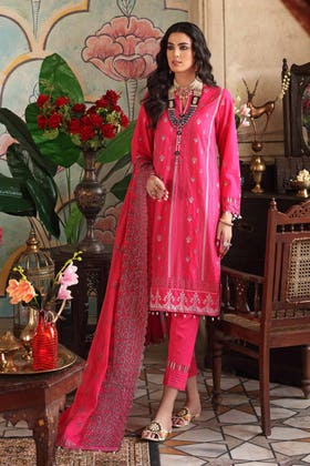 3 PC Unstitched Embroidered Lawn Suit with Yarn Dyed Dupatta FE-12256