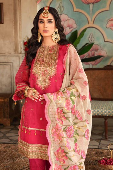 3 PC Unstitched Embroidered Lawn Suit with Mahsuri Dupatta & Pallu FE-12242