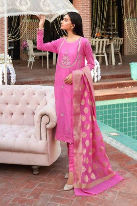 3 PC Unstitched Embroidered Lawn Suit with Jacquard Dupatta FE-12237