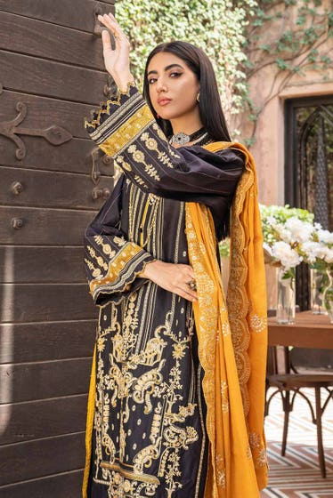 3 PC Unstitched Embroidered Lawn Suit with Yarn Dyed Dupatta FE-12254