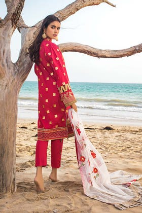 3PC Unstitched Embroidered Lawn Suit With Embroidered Jacquard Dupatta - FE-12219 - ZUBAIDAH