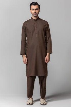 Khaki Brown Gul 900 Gorgia Unstitched Fabric