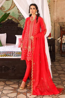 3 PC Unstitched Embroidered Lawn Suit with Cotton Dupatta FE-12258