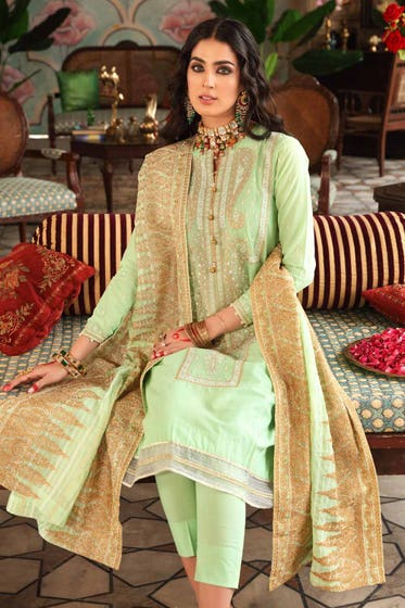 3 PC Unstitched Embroidered Lawn Suit with Yarn Dyed Dupatta FE-12126