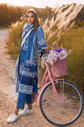 3PC Unstitched Irani Pashmina Dupatta Suit AP-12077