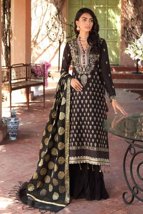 3 PC Unstitched Embroidered Lawn Suit with Jacquard Dupatta FE-12235