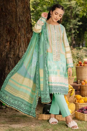 2PC Digital Embroidered Cambric Shirt With Lawn Dupatta TCE-12009