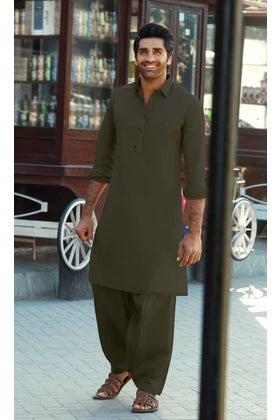 Khaki Green PLATINUM LATHA Unstitched Fabric