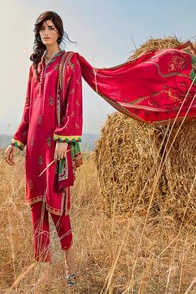 3 PC Unstitched Linen Suit with Silk Karandi Shawl KP-04