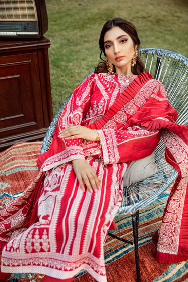 3 PC Lacquer Printed-Suit with Georgette Dupatta FE-261