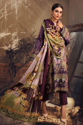 3PC Unstitched Embroidered Corduroy Suit with Digital Printed Cotton Net Dupatta CD-12014