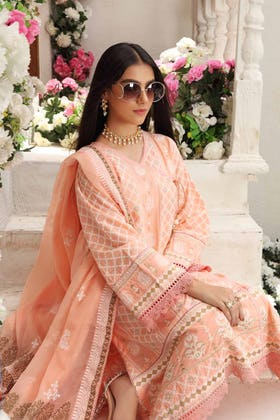 3 PC Unstitched Embroidered Lawn Suit with Gold Gold Printed Bamber Dupatta FE-12117
