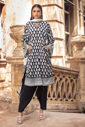 3PC Unstitched Printed Lawn Suit With Lawn Dupatta B-12007
