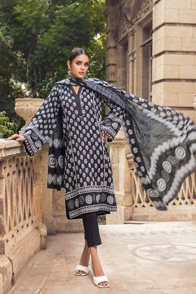 2PC Unstitched Printed Lawn Shirt With Lawn Dupatta BT-12001