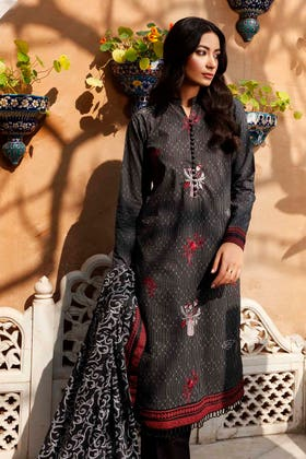 3 PC Lawn Unstitched Embroidered Suit CL-1238