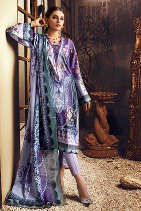 3PC Unstitched Digital Printed Corduroy Suit with Cotton Net Dupatta CD-12010 A