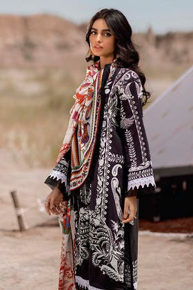 3PC Unstitched Corduroy Suit with Printed Cotton Net Dupatta CD-12009 B
