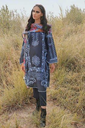 3PC Unstitched Corduroy Suit with Printed Cotton Net Dupatta CD-12009 A