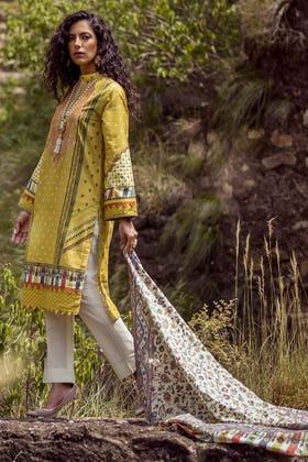 3PC Unstitched Embroidered Khaddar Suit with Digital Printed Khaddar Dupatta K-12030