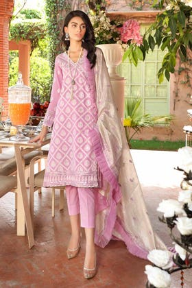 3 PC Unstitched Embroidered Lawn Suit with Jacquard Dupatta FE-12231