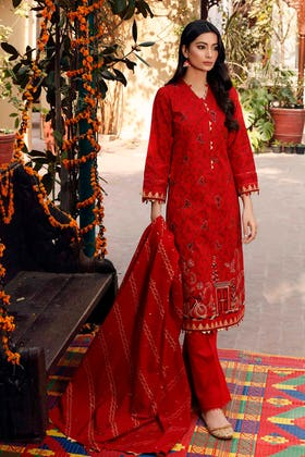 3 PC Lawn Unstitched Embroidered Suit CL-1240