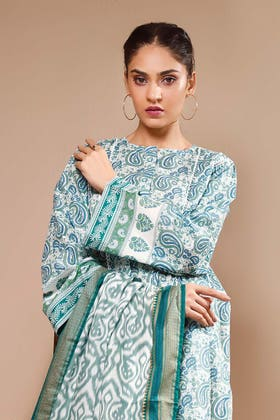 3PC Unstitched Gold Printed Suit With Printed Lawn Dupatta CL-1111 A