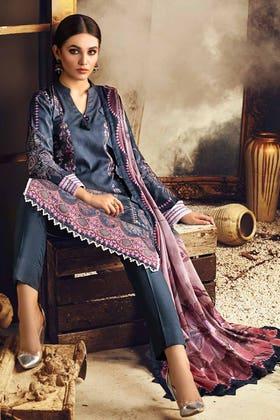 3PC Unstitched Digital Printed Corduroy Suit with Cotton Net Dupatta CD-12015 A