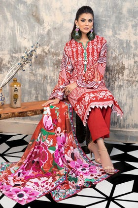 3 PC Unstitched Khaddar Embroidered Suit K-88