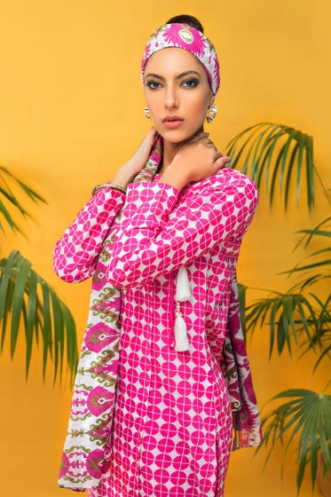 3 PC Unstitched Printed Cambric Suit CBN-114 B