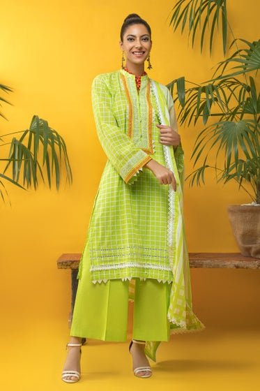 3 PC Unstitched Embroidered Cambric Suit CBE-120