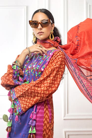 3 PC Unstitched Printed Cambric Suit CBN-123