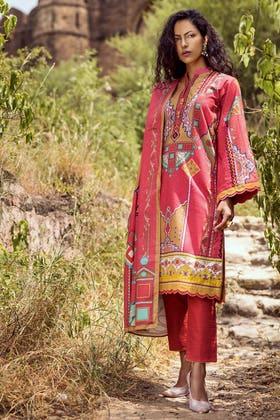 3PC Unstitched Embroidered Khaddar Suit with Digital Printed Khaddar Dupatta K-12024