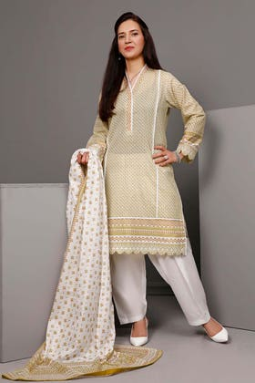 3PC Unstitched Printed Suit With Printed Lawn Dupatta CL-1096 A