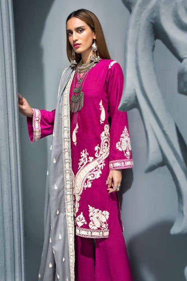 3PC  Embroidered Khaddar Shirt with  Embroidered Woolen Shawl APE-08