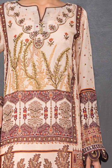 3 PC Unstitched Embroidered Lawn Suit with Cotton Silk Dupatta FE-12008