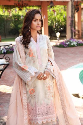 3 PC Unstitched Embroidered Lawn Suit with Denting Lawn Dupatta FE-12232