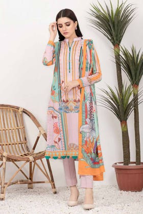 3PC Unstitched Printed Lawn Suit with Lawn Dupatta CLP-12013 A