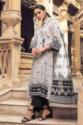 2PC Unstitched Printed Lawn Shirt With Lawn Dupatta BT-12004