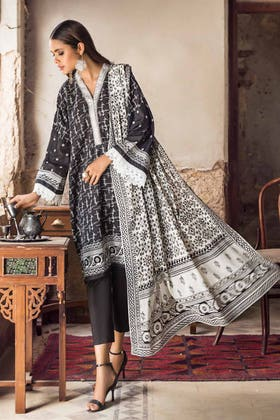 3PC Unstitched Embroidered Lawn Suit With Lawn Dupatta B-12013