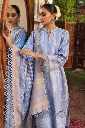 3PC Unstitched Cambric Jacquard Suit with Jacquard Dupatta MJ-12069