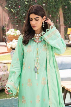 3 PC Unstitched Embroidered Lawn Suit with Jacquard Dupatta FE-12139