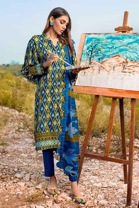 3PC Unstitched Irani Pashmina Dupatta Suit AP-12058