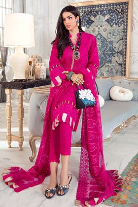 3PC Unstitched Lawn Embroidered Suit With Embroidered Net Dupatta PM-399