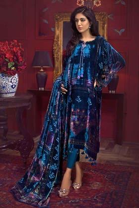 3PC Unstitched Velvet Suit With Velvet Dupatta BVL-12007 B