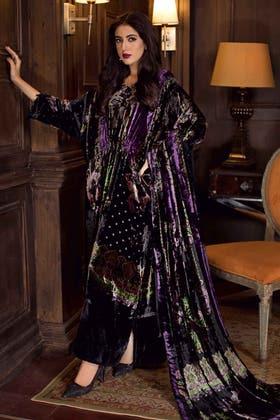 3PC Unstitched Velvet Suit With Velvet Dupatta BVL-12003 A