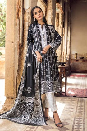 3PC Unstitched Embroidered Lawn Suit With Lawn Dupatta B-12010