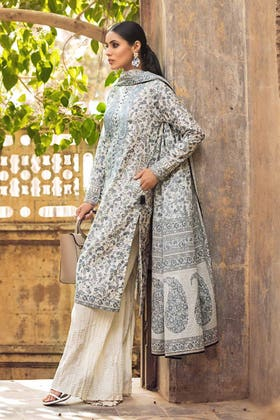3PC Unstitched Embroidered Lawn Suit With Lawn Dupatta B-12012